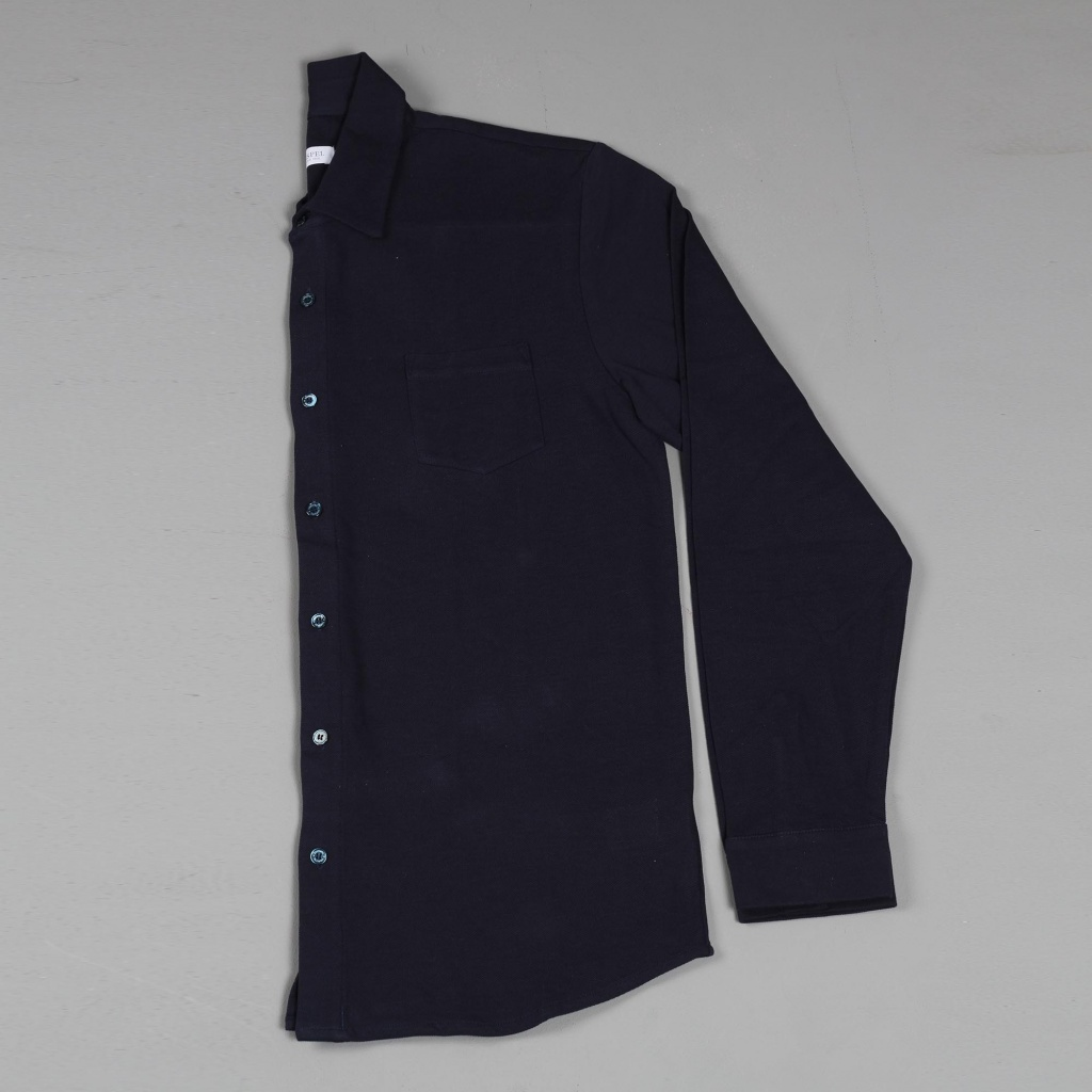 Sunspel Long Sleeve Pima Cotton Piqué Shirt Navy